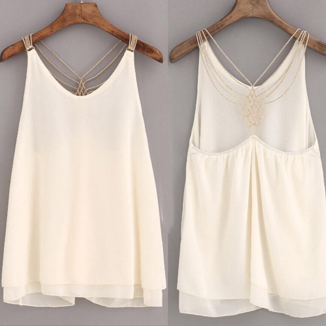 c4d86b01d84156 Remiel Store White Chiffon Sleeveless Backless Halter Neck cami Tank Tops  Blouse for Women at Amazon Women s Clothing store