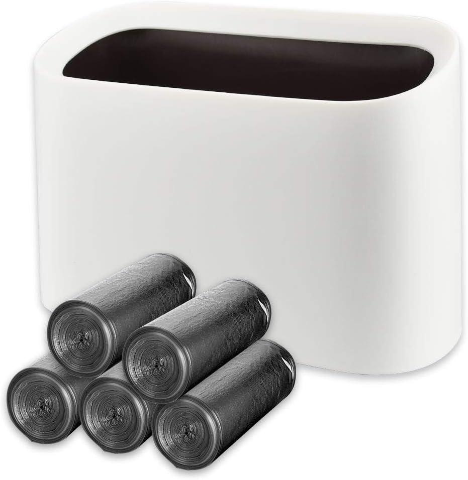 DECARETA Mini Countertop Wastebasket Trash Can White Makeup Holder Vanity Bathroom Kitchen Car Desktop Office with 100Plastic Bags Practical Storage Box for Living Room Kitchen Bedroom