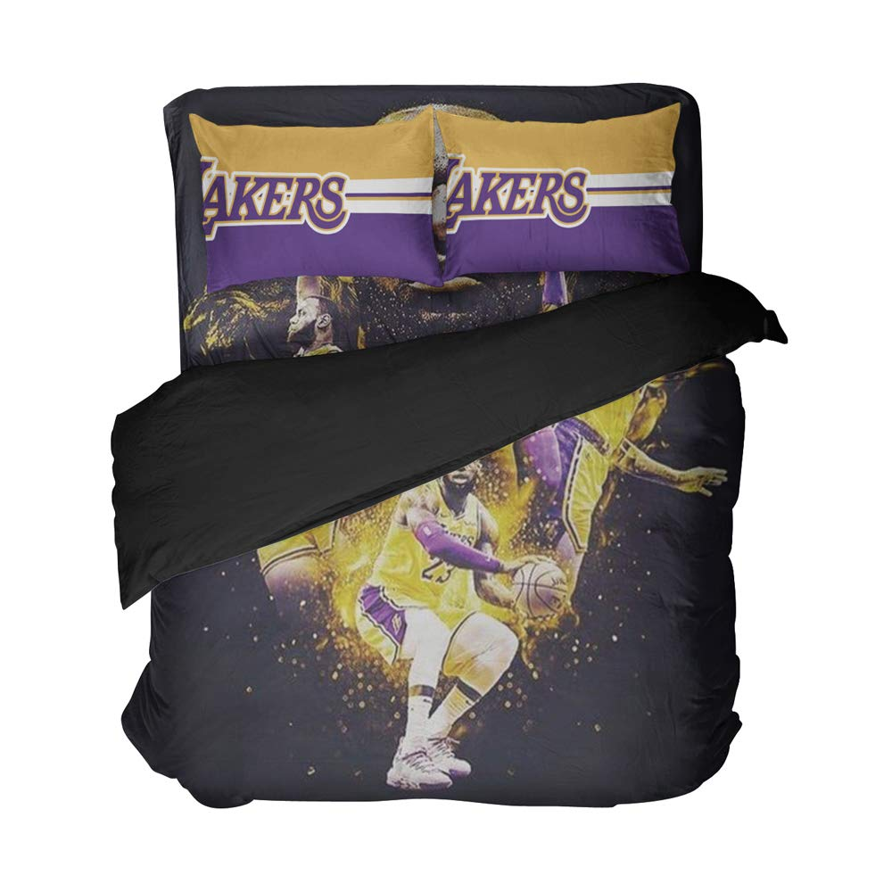 Magaport Men's Basketball Bedding Player Number 23 Bed Set Los Angeles Sheets Duvet Cover Team 3D Printed Bedspread Twin Queen King Twin Full Size (Gold Purple, Queen 4pcs)