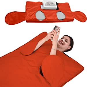 SEAAN Far-Infrared Sauna Blanket 2 Zone Weight Loss Detox Therapy FIR Sauna Blanket for Body Shape Slimming Fitness for Women Man, Allow Reach Out Hand, Waterproof, 110V (Orange)