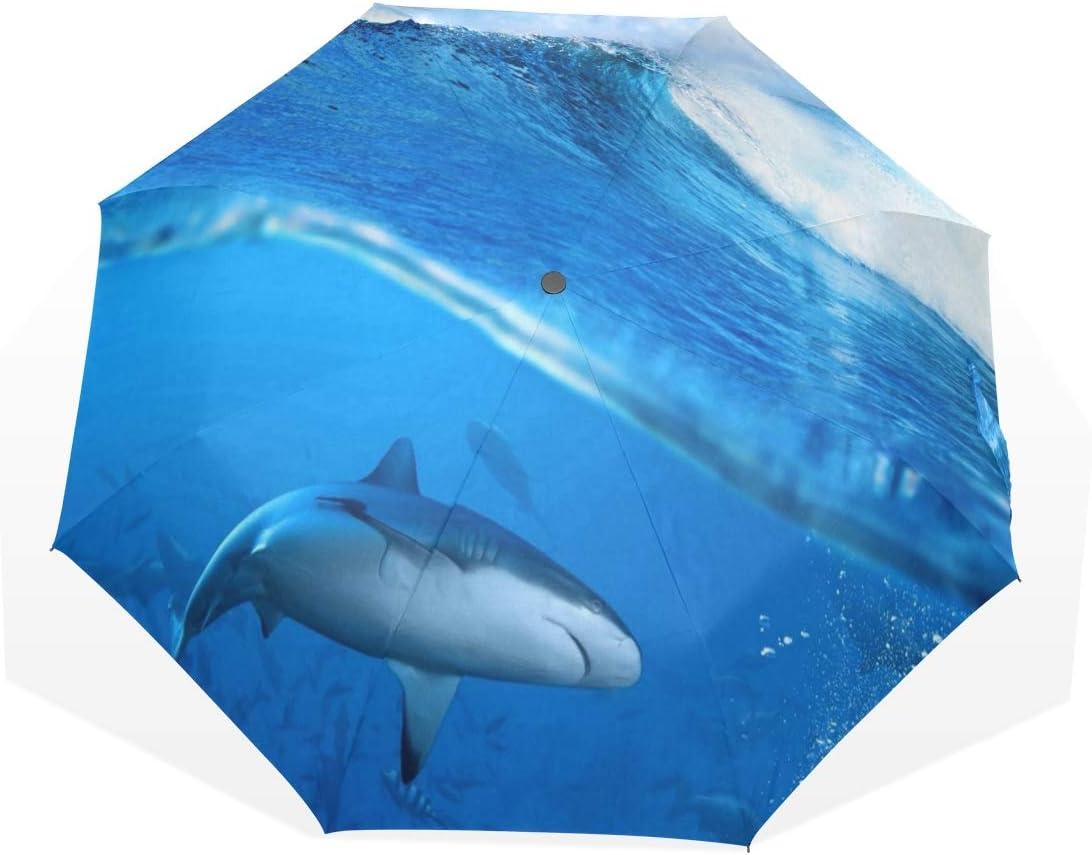 HangWang Umbrella Shark Water Animal Ocean Travel Golf Sun Rain Windproof Umbrellas with UV Protection for Kids Girls Boys