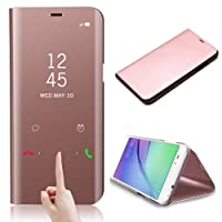 CrazyLemon View Case for Samsung Galaxy A8 2018 Clear View Standing Cover Electroplating PC + PU Leather 360 Degree Full Body Full Protection Plating Mirror Cover Bright Clear Crystal Mirror Case with Flip Cover and Stand Folding Kickstand Protective Bumper Case for Samsung Galaxy A8 2018 - Rose Gold