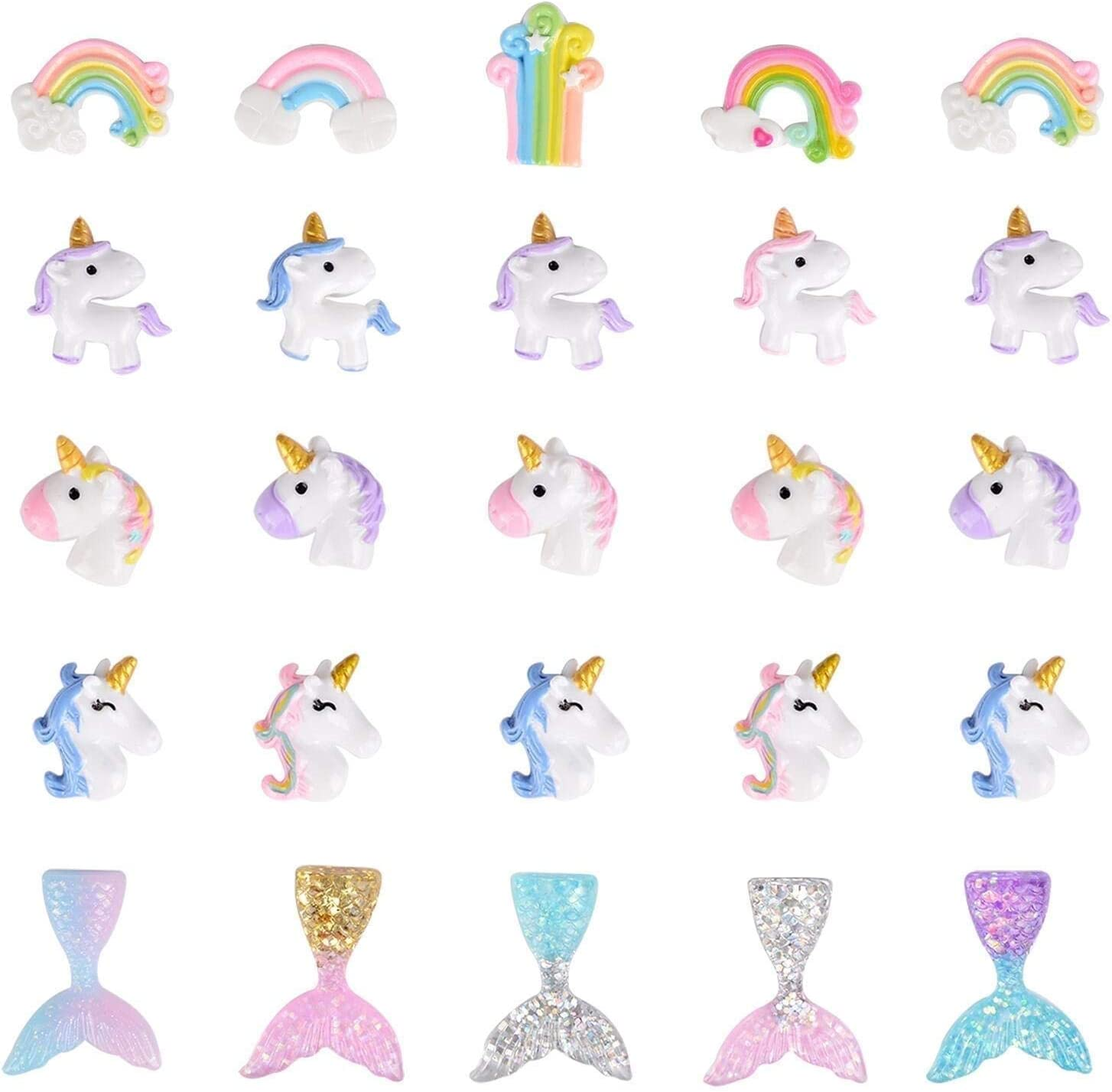4 Mermaid Resin Charms Assorted Colors 3D K185