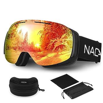 82156891a2 NACATIN Gafas de Esquí 4 en 1, 100% UV400 Protección Doble Lentes Esféricas,