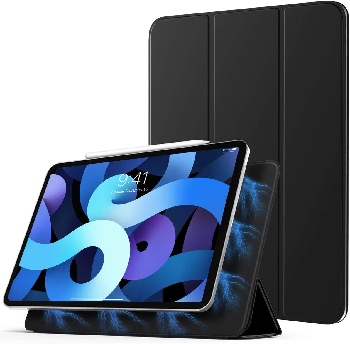 """TiMOVO Case for New iPad Air 4th Generation, iPad Air 4 Case (10.9-inch, 2020)/iPad Pro 11"""" 2018, [Support Apple Pencil Pair &Charging] Strong Magnetic Trifold Stand Case & Auto Sleep/Wake - Black"""