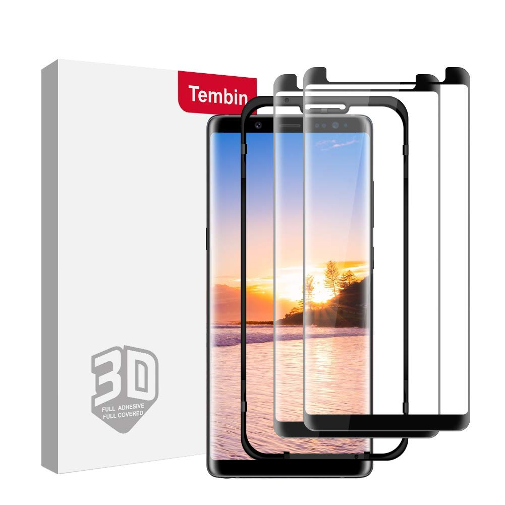 Tembin 2 Pack Full Adhesive Screen Protector for Note 8, 3D Round Edge Curved Tempered Glass Clear [ Black Border ] Case Friendly Screen Cover for Samsung Galaxy Note 8 with Easy Installation Tray