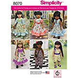 Simplicity Patterns Vintage Inspired 18 Inch Doll Clothes Size: Os (One ...
