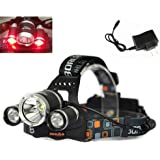WindFire 3X CREE LED 4 Modes Super Bright 5000Lm RED Light Headlamp Tactical Headlight RED Hunting Light Bicycle Light Lamp Flashlight Torch with Charger and WindFire 18650 Rechargeable Battery for Camping,Climbing,Cycling