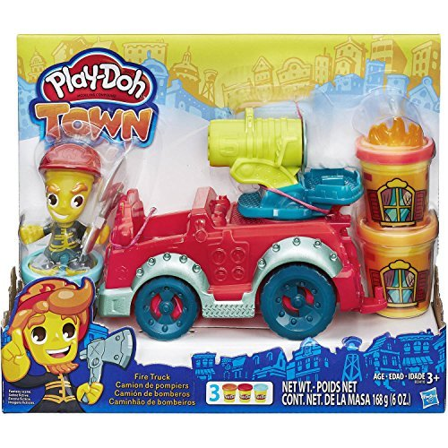 Play-Doh Town Fire Truck - New Firehouse Safety Vehicle Model Toy