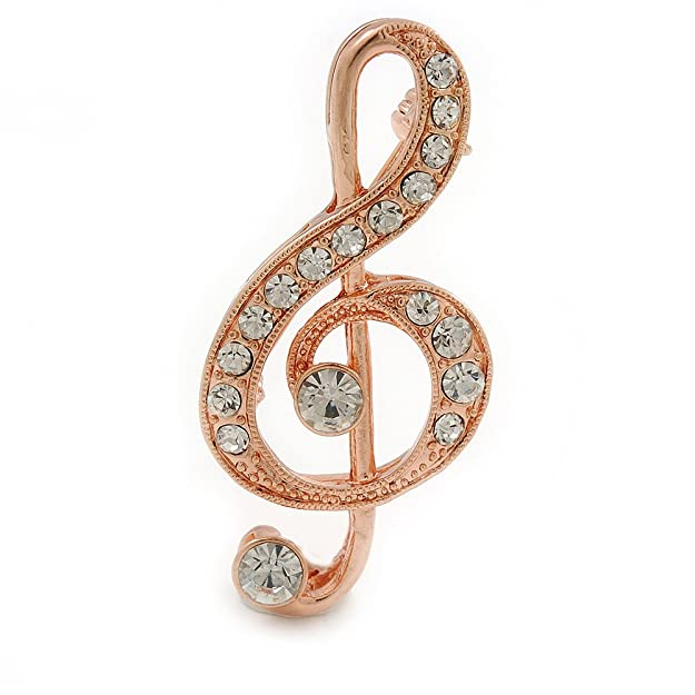 Avalaya Diamante 'Treble Clef' Brooch In Rose Gold Tone - 50mm L S0gKzn3401