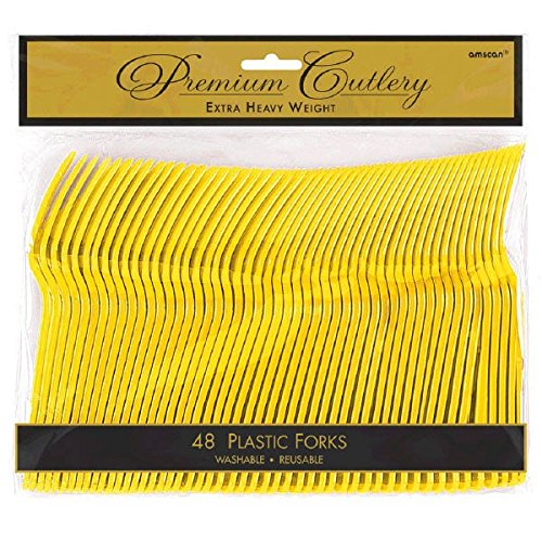 (Premium Heavy Weight Plastic Forks| Sunshine Yellow | Pack of 48 | Party Supply)