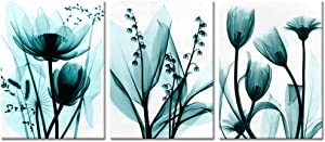 Visual Art Decor 3 Pieces Modern Green Transparent Flowers Picture Canvas Prints Simple Life Floral Giclee Prints Artwork for Home Office Bedroom Zen Spa Room Wall Decoration