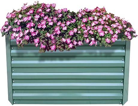 AUFUN Jardinera de Acero Galvanizado 120x90x60cm Verde bancal de ...