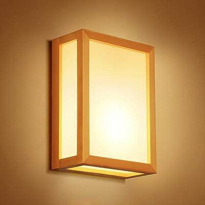 Lampe Bois Applique Créative Chevet Simple De Japonaise Led Massif ZuXPik