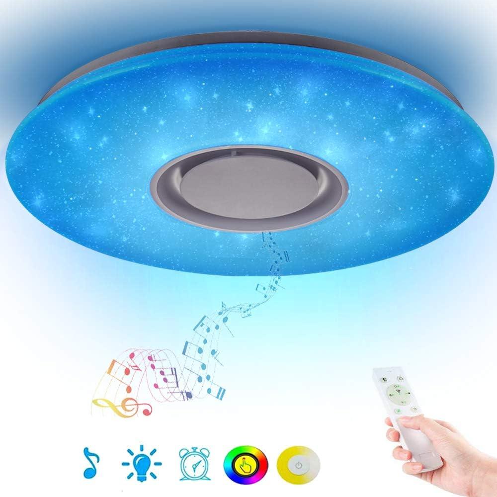 Cielo Estrellado 36W Lámpara de techo Regulable Plafón LED con Altavoz Bluetooth, APP + Mando a distancia, blanca cálida/fría RGB cambio de color, para niños sala estudiantes