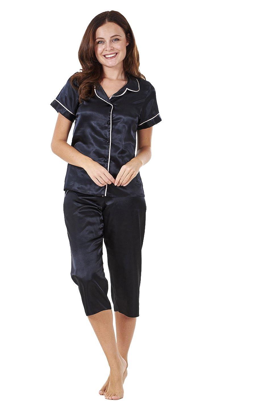 Conjunto de pijama para mujer - Manga corta - Pantalón de estilo pirata - Satinado - Negro - EU 36: Amazon.es: Ropa y accesorios