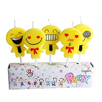 Birthday Candles Cute Emoji Themed Cake For Kids Yellow Toothpick Cupcake Amazoncouk Toys Games