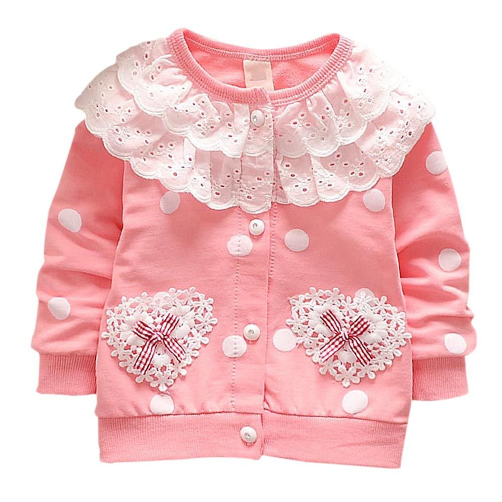 Qlan Kids Baby Girls Knitting Long Sleeves Pattern Cardigans Sweater Cotton Button Sweaters Outfit Outwear 6-36 Months