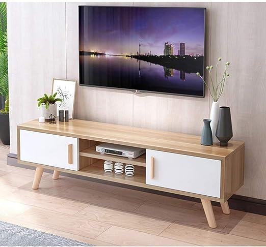 Consola for TV con patas TV Media Soporte Centro de Entretenimiento Televisión Soportes de almacenamiento de medios Gabinete Mesa con Puertas de gabinete y de almacenamiento abierto estante de la sala: Amazon.es: