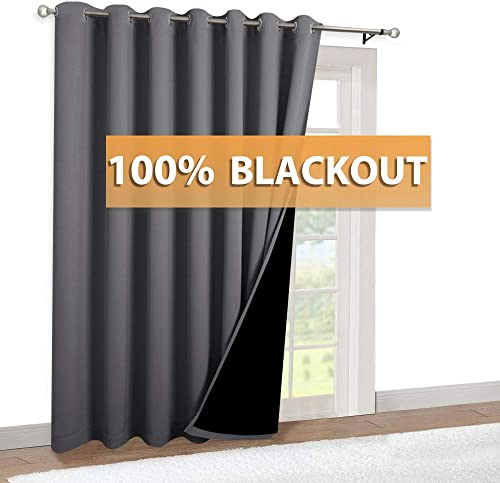 RYB HOME Thermal Insulated 100 Blackout Curtains, Noise Reducing Sliding Glass Door Curtain Panel with Black Lining, Full Light Blocking Patio Door Drapery, 100-inch x 84-inches, Grey, 1 Panel