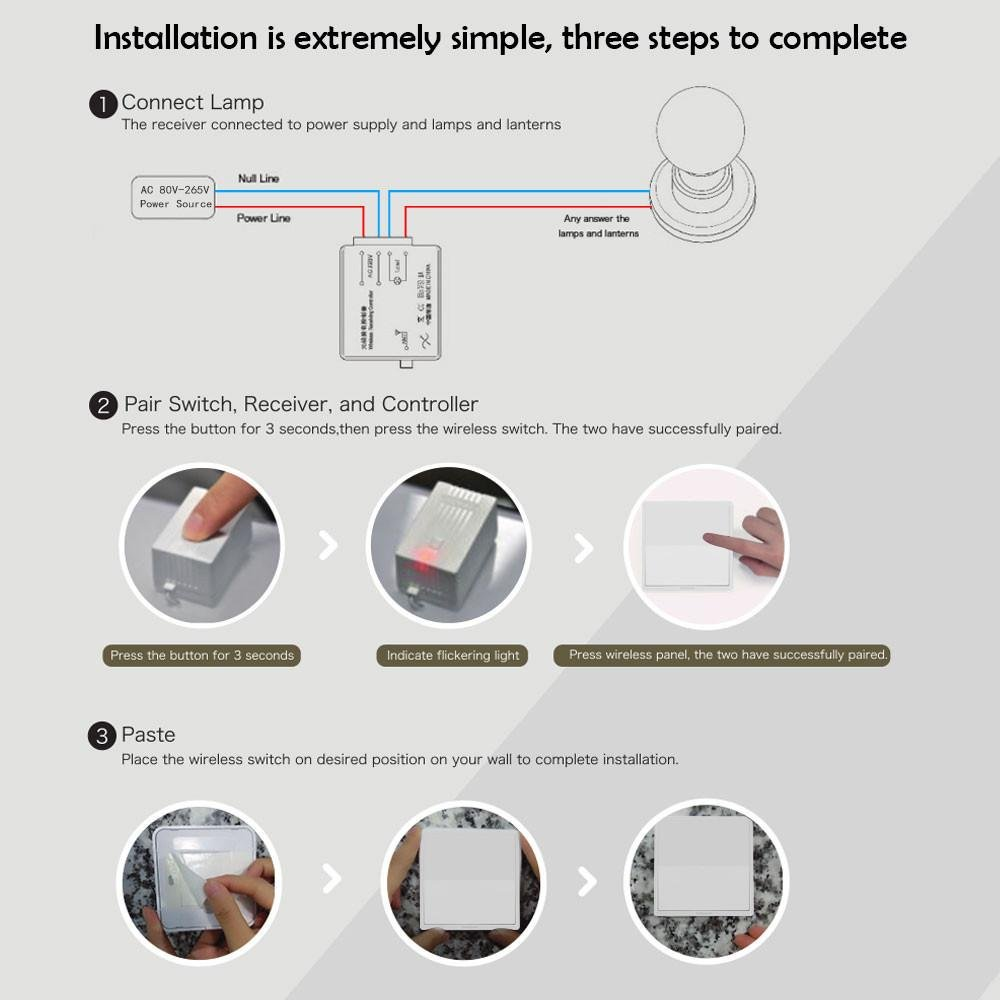 Amazon.com: Aolvo [2017 Newest]Wireless Light Switch Kit, KOBWA ...