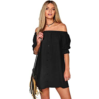 18702c842a83 Harson Women s Sexy Off-Shoulder Black Beach Short Dresses Casual Party  Boho Dress (S