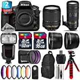 Holiday Saving Bundle for D810 DSLR Camera + 70-200mm f/2.8E VR Lens + 18-140mm VR Lens + Flash with LCD Display + 2.2x Telephoto Lens + 0.43x Wide Angle Lens + 6PC Graduated - International Version