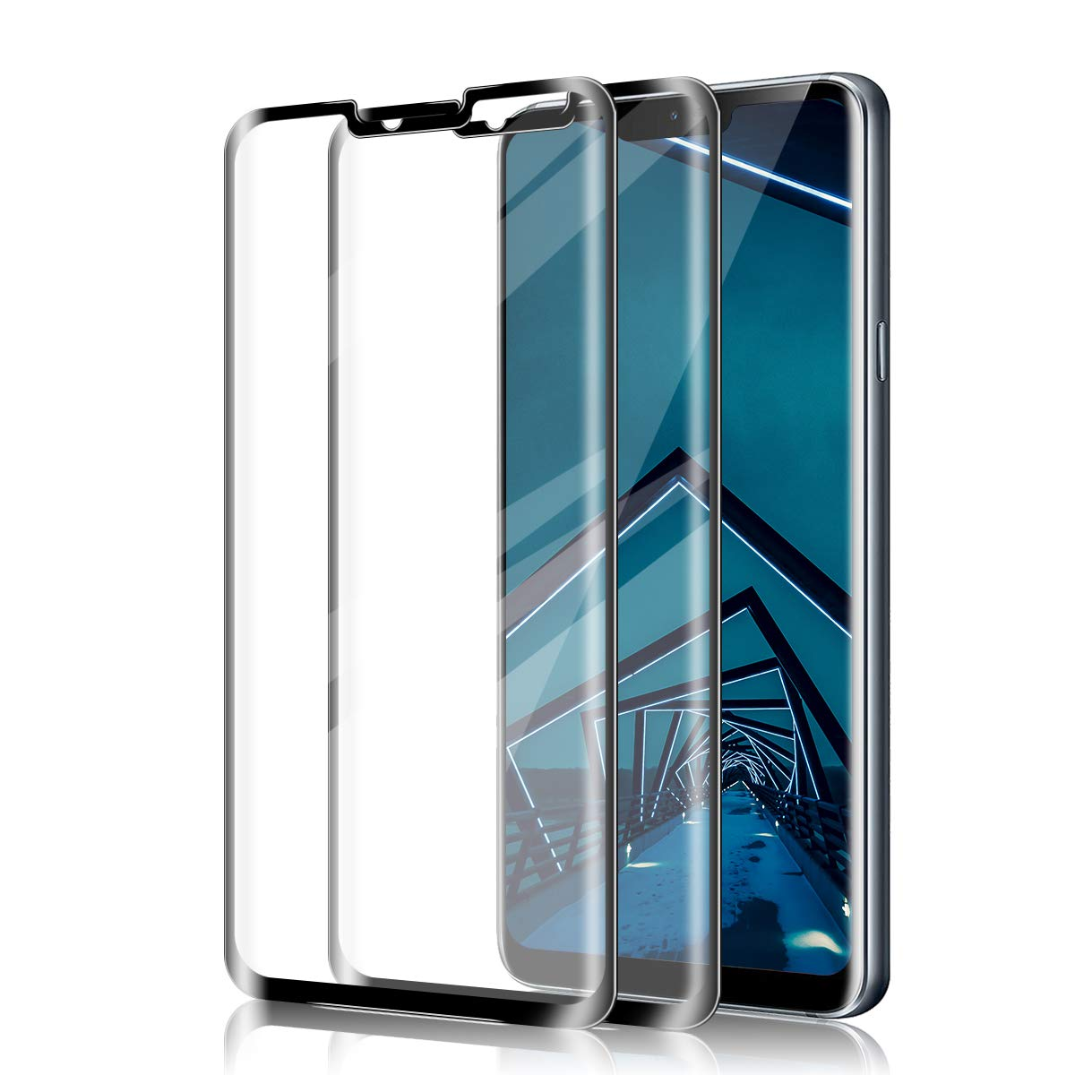 LG V40/V50 ThinQ Screen Protector by BIGFACE, [2 Pack] Full Coverage Premium Tempered Glass, HD Clarity, Case Friendly, Anti - Scratch, 3D Touch Accuracy Anti Bubble Film for LG V40/V50 ThinQ