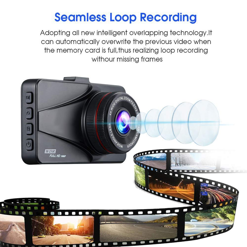 G-Sensor and Loop Record BUIEJDOG Dash Cam Full HD 1080p Car Dash Camera DVR Dashboard Camera Video Recorder in Car Camera 3.0 LCD Screen Dashcam for Cars Front with Night Vision 170/°Wide Angle