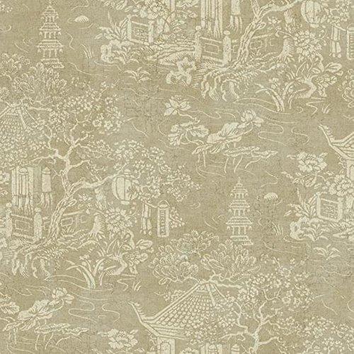 (AD1256 Cream Asian Pagoda Chinoiserie Toile on Metallic Taupe Wallpaper)