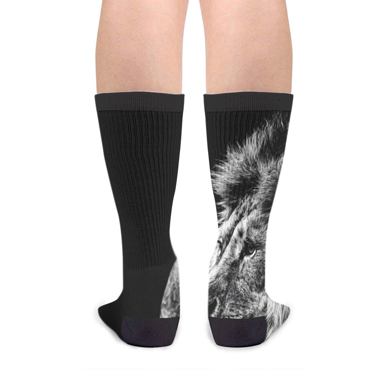 YISHOW Lion In Black And White Funny Crew Socks