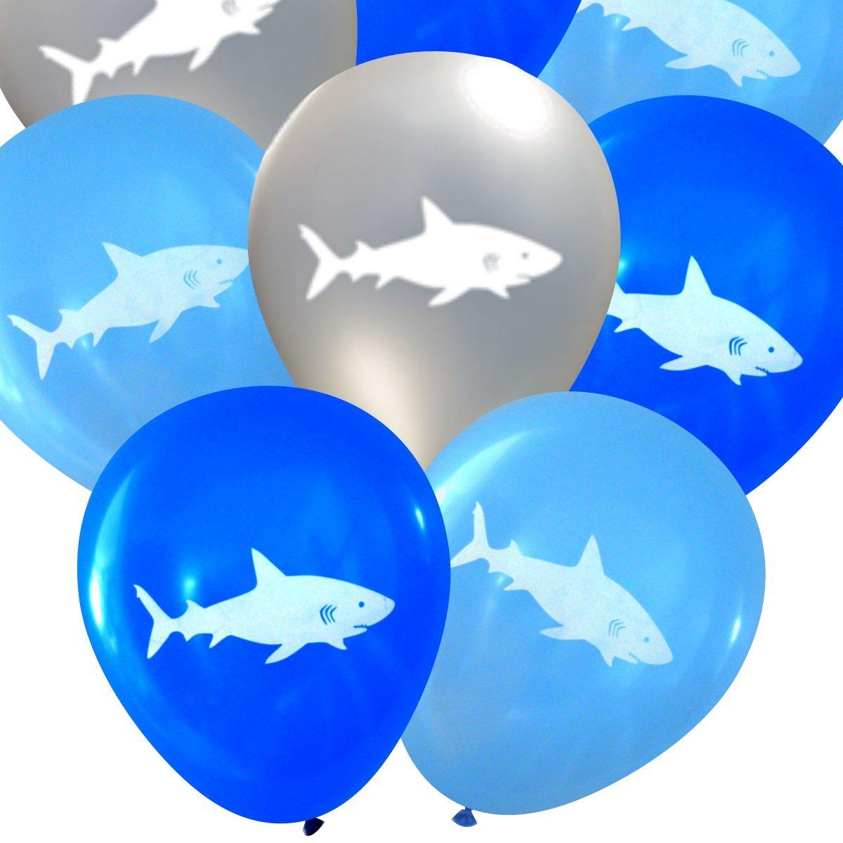 Shark Latex Balloons (16 pcs) by Nerdy Words (Blues & Silver)