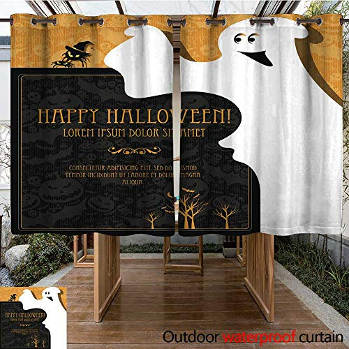 (RenteriaDecor Outdoor Curtains for Patio Waterproof Halloween Vector Icons Set W96 x)