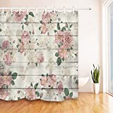 Floral Shower Curtain LB Pink Flower on Rustic Wood Panel Shower Curtain for Bathroom by, Vintage Retro Country Floral Theme Curtain, Mildew Resistant Waterproof Fabric Decorative Curtain, 72 x 72 Inch