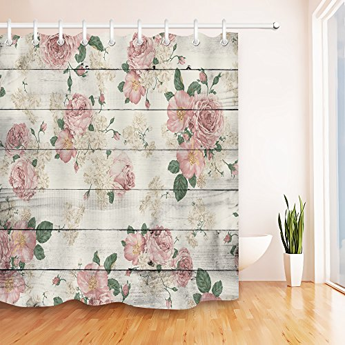 (LB Pink Flower on Rustic Wood Panel Shower Curtain for Bathroom, Vintage Retro Country Floral Theme Curtain, Waterproof Fabric Decorative Curtain, 70 x 70 Inch)