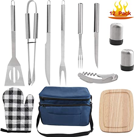 grilljoy 12pc BBQ Grill Accessories Tool Set Professional Stainless Steel Barbecue Grilling Accessories with Insulated Cooler Bag Birthday Perfect BBQ Accessories Gifts for Men on Fathers Day