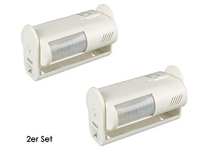 Juego de 2 mini Detector de movimiento PIR con alarma, 8 m/60 °
