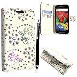 Motorola Moto G4 / G4 Plus 4th Gen. 2016 Case, Kamal Star® [ Rose White Diamond Book ] Premium PU Leather Magnetic Case Cover with ATM card and Note slots + Free Stylus
