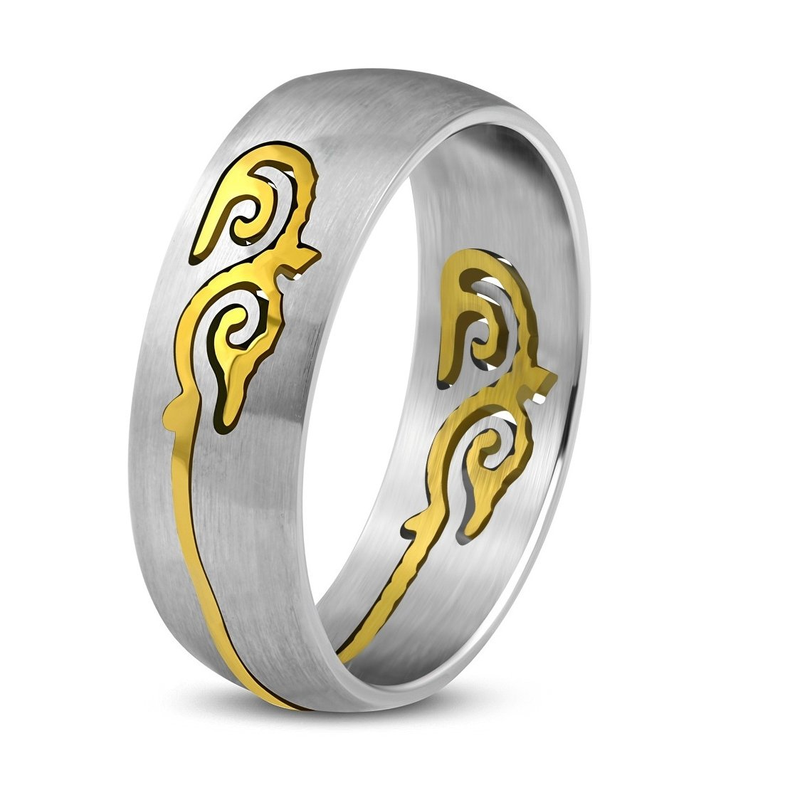 Stainless Steel Matte Finished 2 Color Spiral Vine Half-Round Band Ring