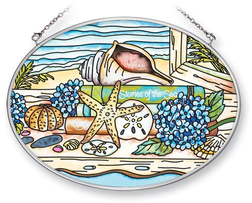 Amia Suncatcher Featuring a Seashell Beach Design, Hand Painted Glass, 7-Inch by 5-1/4-Inch Oval