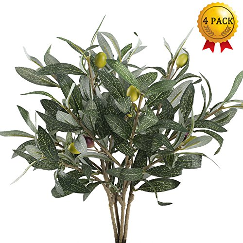 Nahuaa 4PCS Artificial Olive Branches Silk Leaves with Foam Fruit Fake Plants Vase Filler Olive Wreath Supplies Table Centerpieces Arrangements Home Kitchen Office Indoor Outdoor Spring Decorations Cream Floral Fruit
