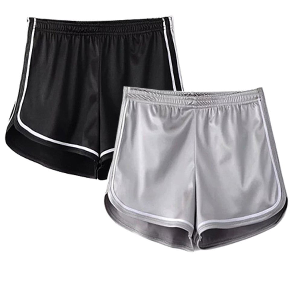 Women's Sexy Booty Dolphin Shorts Sports Gym Workout Yoga Hot Pants (M, 2Pack(Silver+Black))