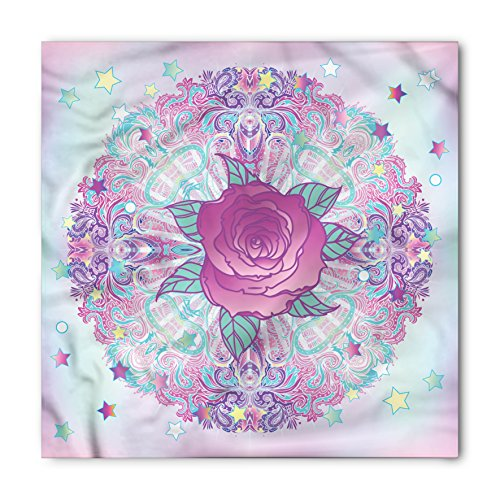 Indie Bandana by Ambesonne, Psychedelic Mandala Inspired Round Rose Figure 80s 90s Retro Vintage Vibrant, Printed Unisex Bandana Head and Neck Tie Scarf Headband, 22 X 22 Inches, Pale Blue - Vintage Clothing Inspired Indie