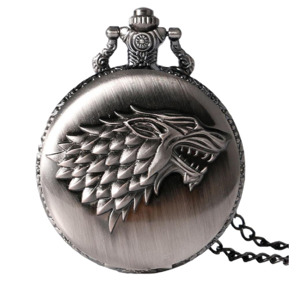 Game of Thrones Stark Crest Silver Finish Pendant Pocket Watch
