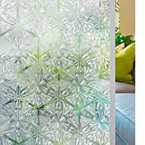 Homein Window Film Privacy Decorative Glass Films, 3D Crystal Clear Stained Glass Sticker, Static Cling & Self Adhesive, Door Windows Decoration, Heat Control & Anti UV, Diamond Pattern