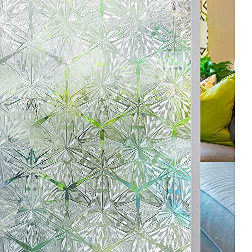 Sidelight Window Film Privacy, 3D Crystal Clear Diamond Decorative Stained Glass Window Film Rainbow Effect Removable Self Adhesive Door Sticker Static Cling Window Paper for Kitchen 35.4x78.7inches