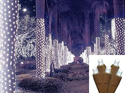 NorthLight 2 x 8 ft. Cool White LED Net Style Tree Trunk Wrap Christmas Lights - Brown Wire