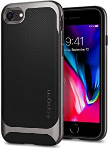 Spigen, Coque Compatible avec iPhone 7/8 [Neo Hybrid Herringbone] Bumper Style Premium Case Slim Fit Dual Layer Protective Cover - [Gunmetal]
