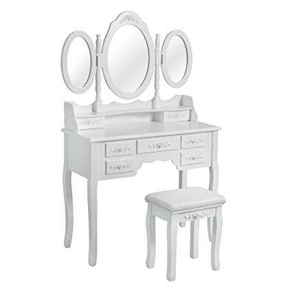 Prime Woltu White Dressing Table Set With Stool 3 Oval Mirrors Ncnpc Chair Design For Home Ncnpcorg