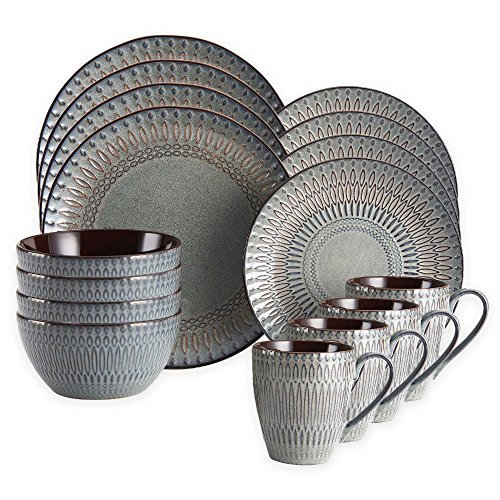 Gourmet Basics by Mikasa Broadway 16-Piece Dinnerware Set by Gourmet (Dish Sets For 8)